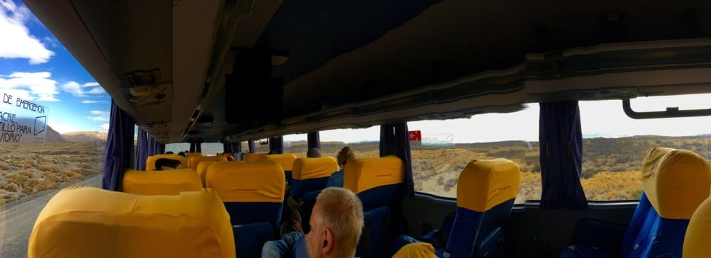 Panoramic shot of an overnight bus to El Calafate