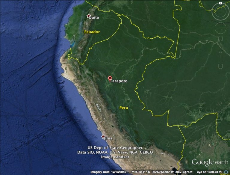 Map of Tarapoto, Peru