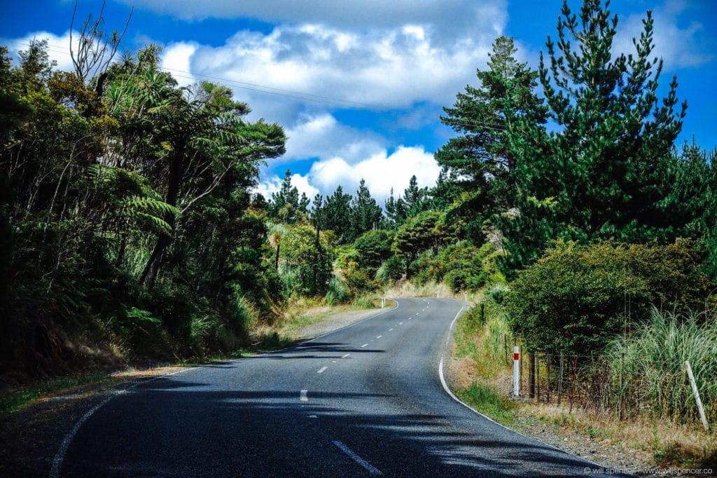 Rural highway in New Zealand.