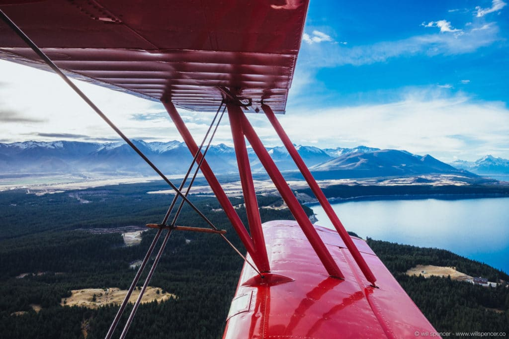 View from a biplane over Lake Pukaki, New Zealand.