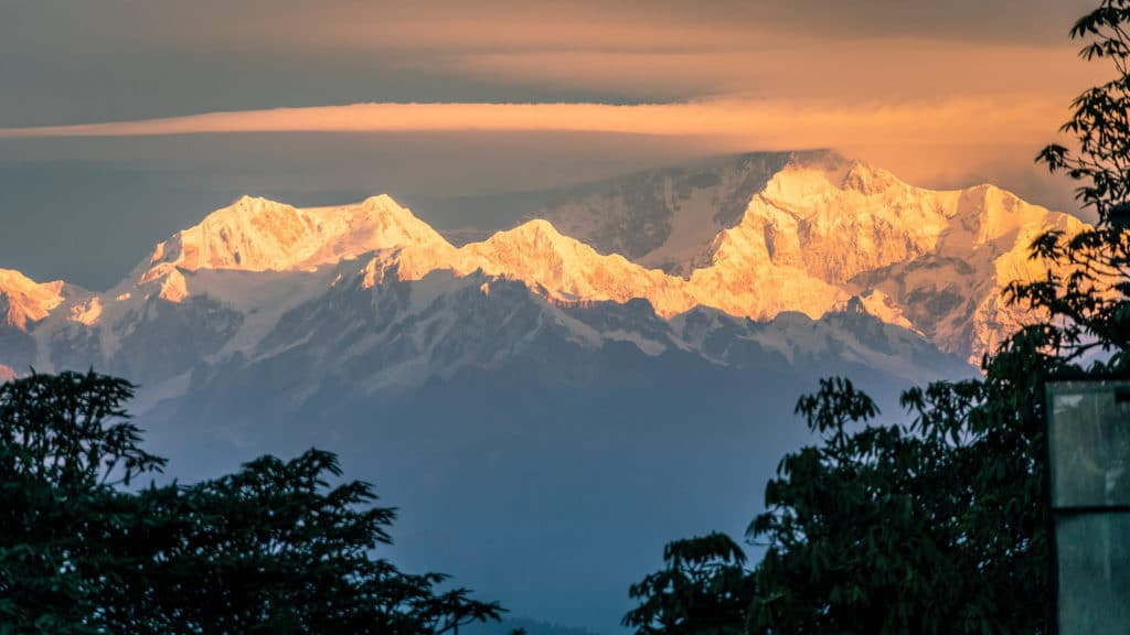 A pink sunrise on the slopes of of Mount Kanchenjunga, the third highest peak in the world.