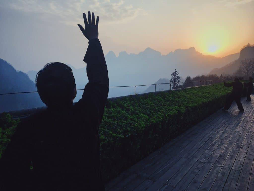 Sunrise meditation on Wudangshan Mountain in China.