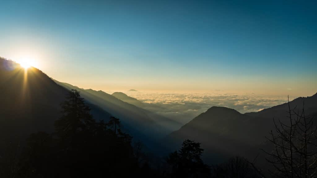 Sunrise from camp Dzongri, in the Sikkim Himalayas.