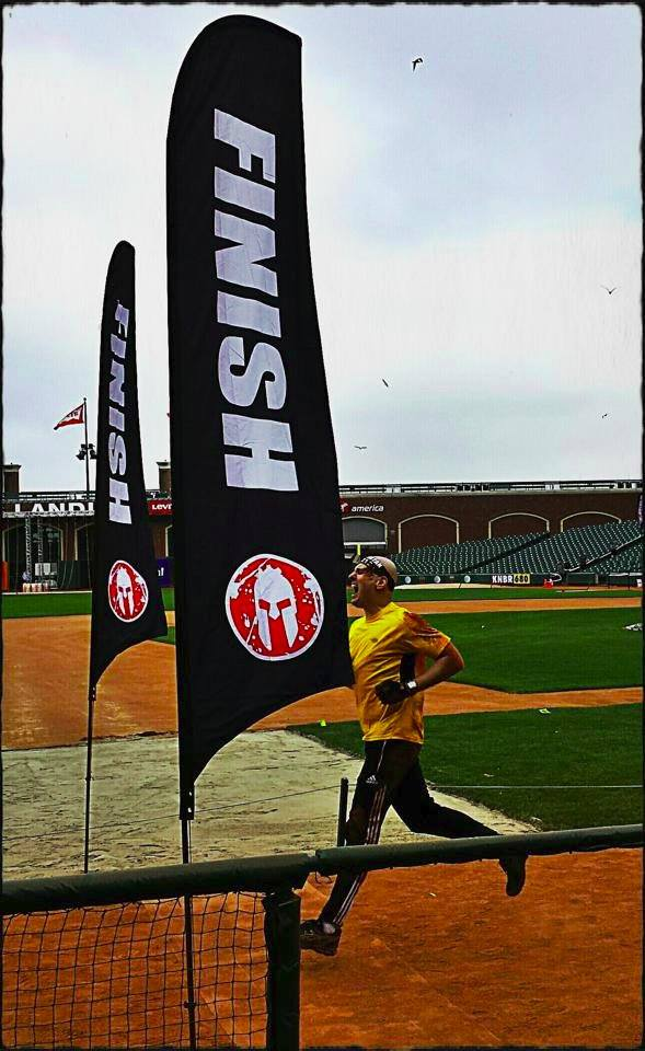 A war cry as I cross the finish line of a Spartan obstacle race, August 2014.