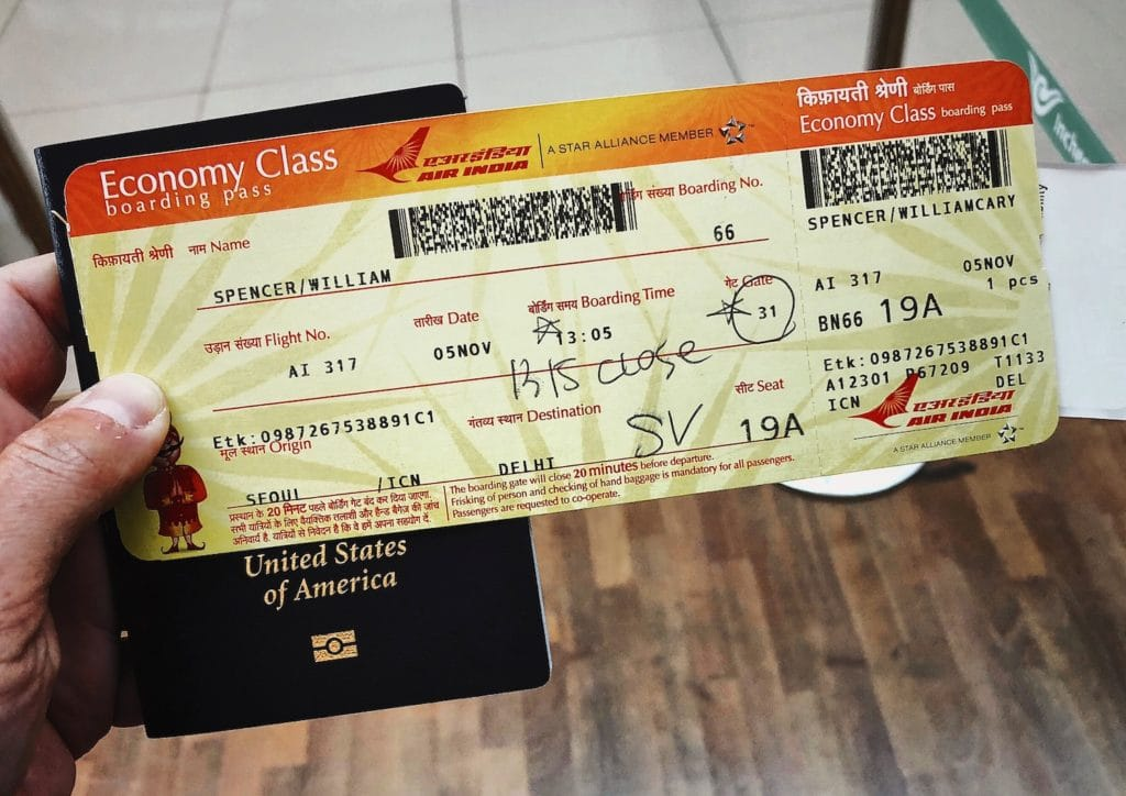 Plane ticket to India